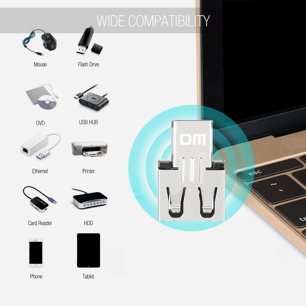 DM USB2.0 Female to Type C Male Port OTG Adapter Connector
