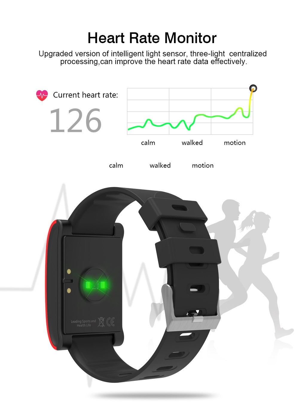 DOMINO DM68 Smartband Android iOS Compatible Blood Pressure / Heart Rate Monitor Remote Camera Find Phone Calorie Consumption IP67 Waterproof