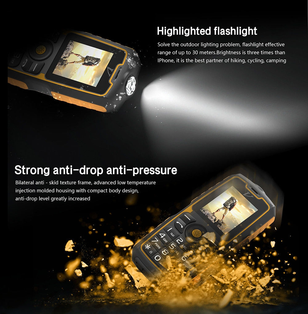 NO.1 A11 Quad Band un-locked Phone IP67 Waterproof Power Bank Function FM Flashlight