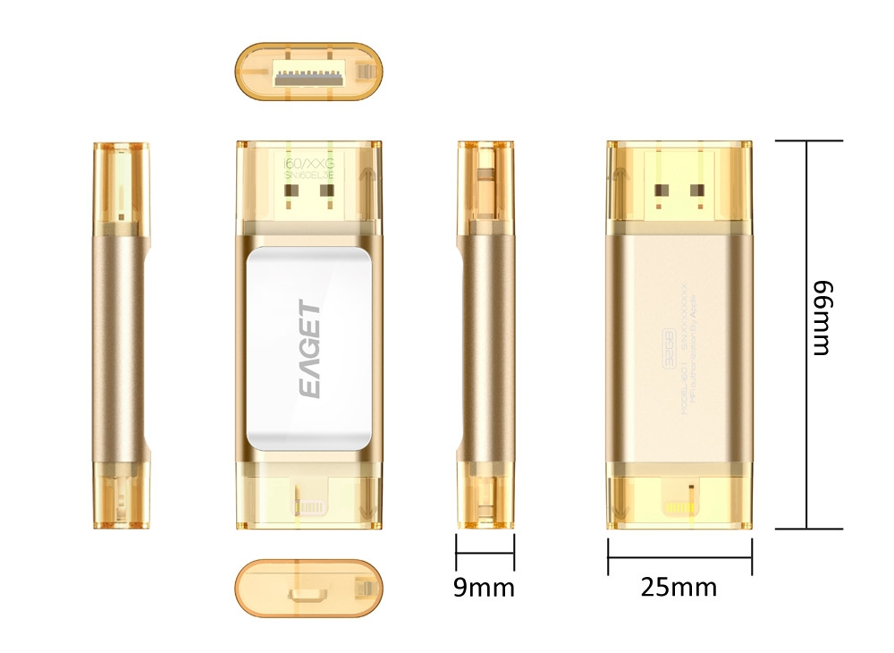 EAGET I60 64GB USB 3.0 OTG Flash Drive with Connector
