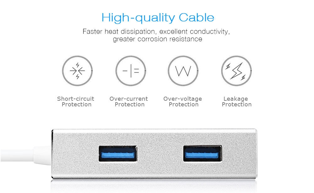 EAGET CH11 4-port USB-C Hub with Type-C Cable Portable Splitter