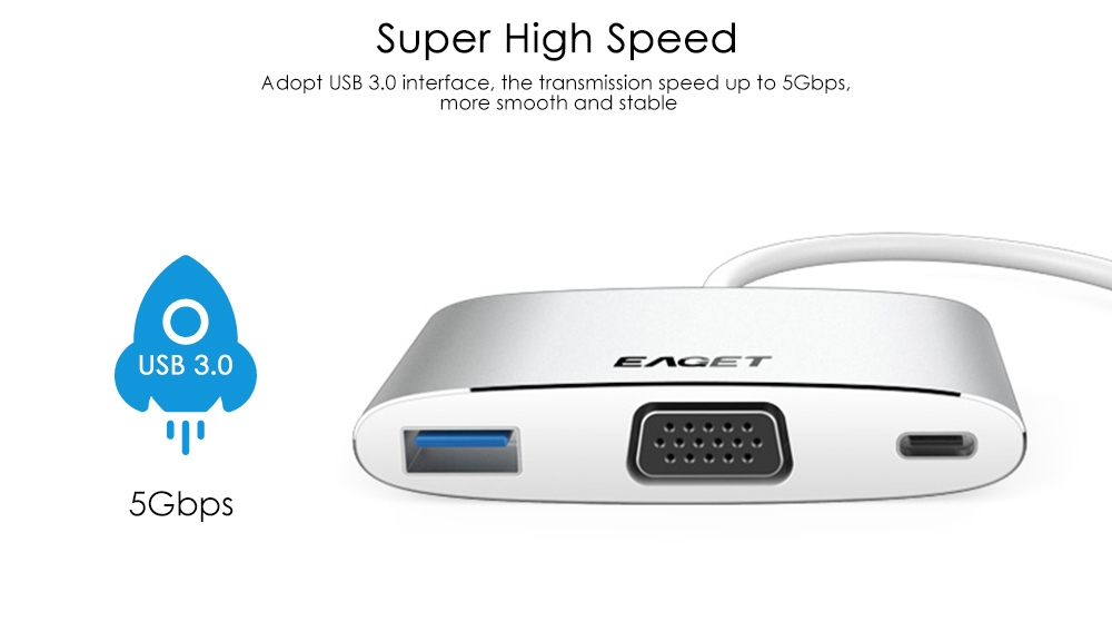 EAGET CH12 Type-C to VGA Adapter Multiport USB 3.0 Hub Video Converter Support PD