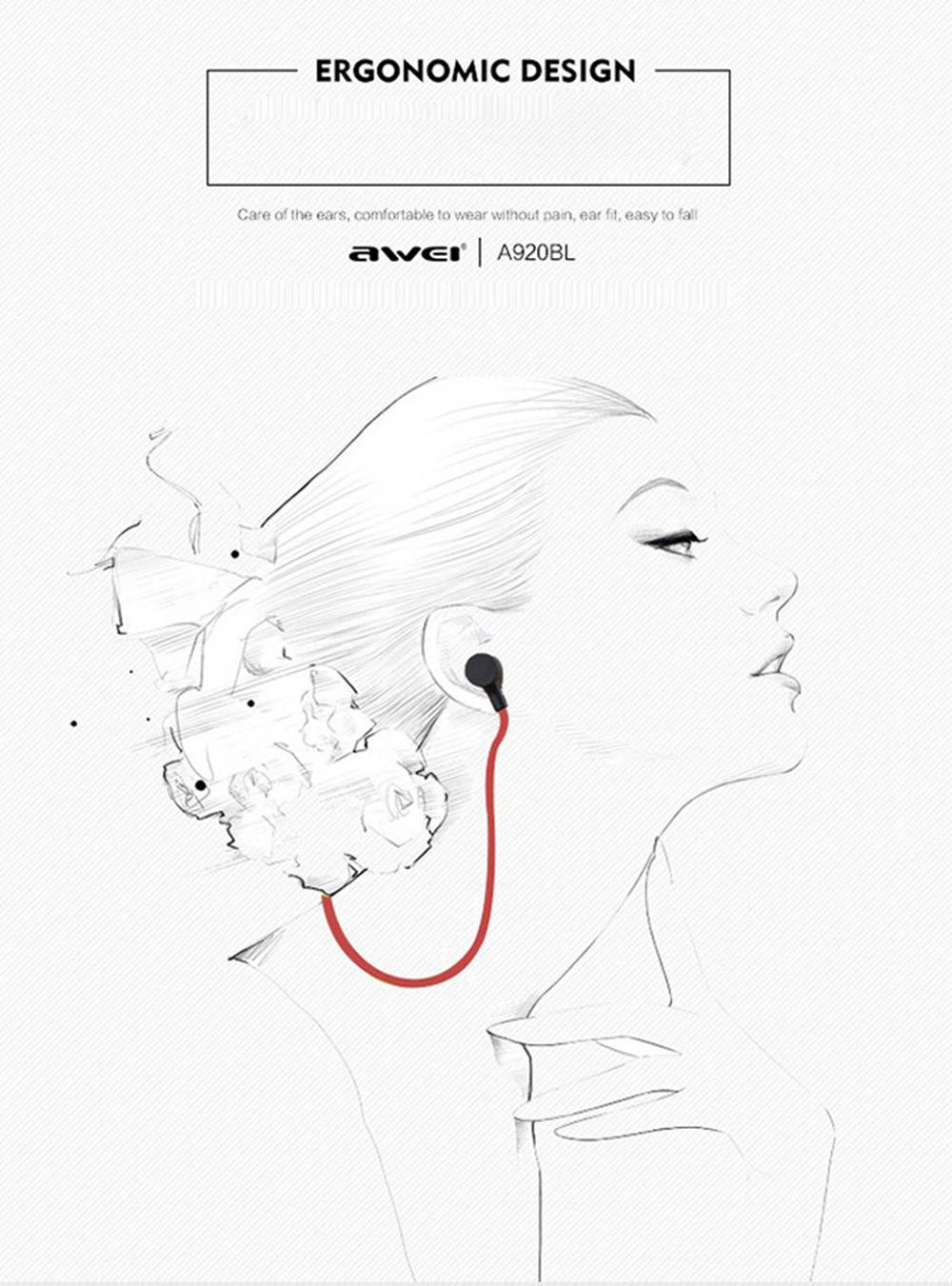 Awei A920BL Smart Wireless Bluetooth V4.1 Sports Stereo Earphone Noise Reduction with Mic