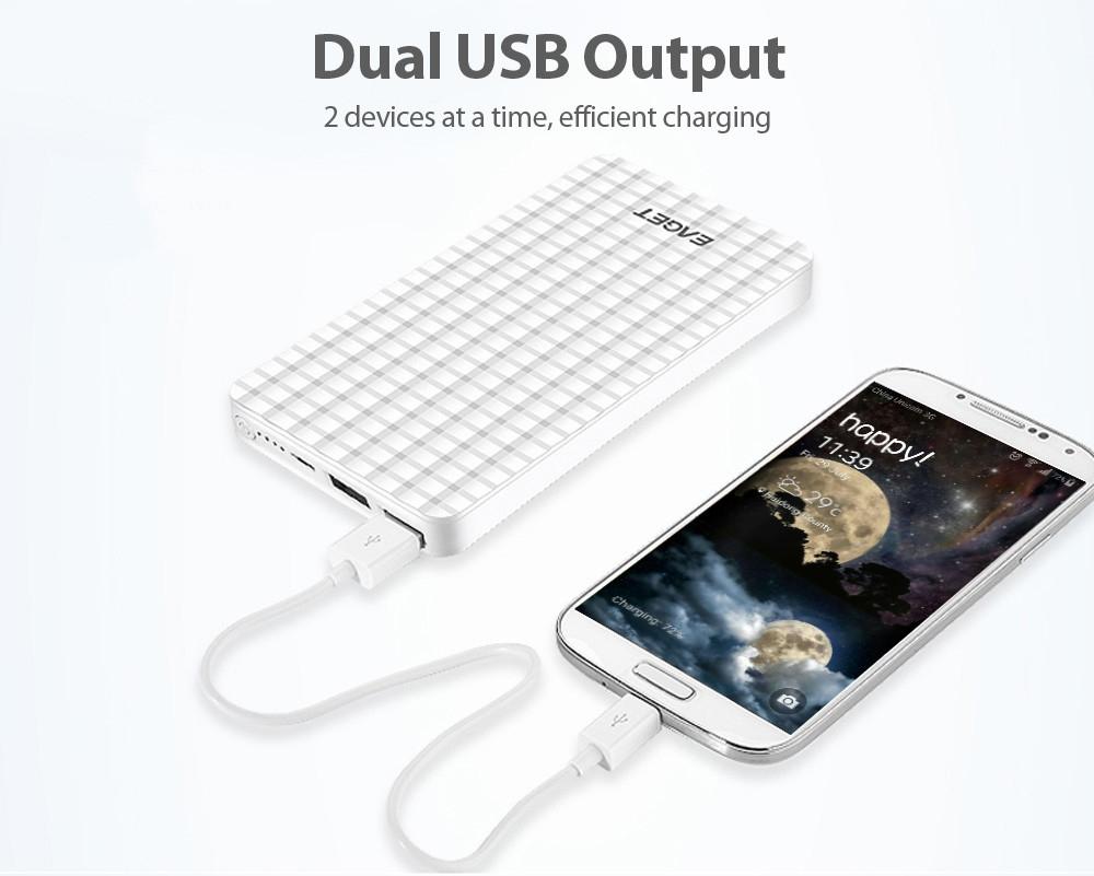EAGET C6 10000mAh Big Capacity Power Bank Dual USB Output Portable Charger