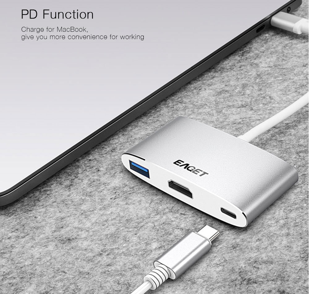 EAGET CH13 Type-C to HDMI Adapter Multiport USB 3.0 Hub Video Converter Support PD
