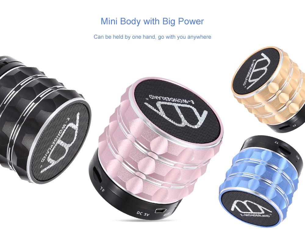 E-WONDERLAND Mini Wireless Bluetooth Bass FM Speaker Support Handsfree AUX TF Card Input