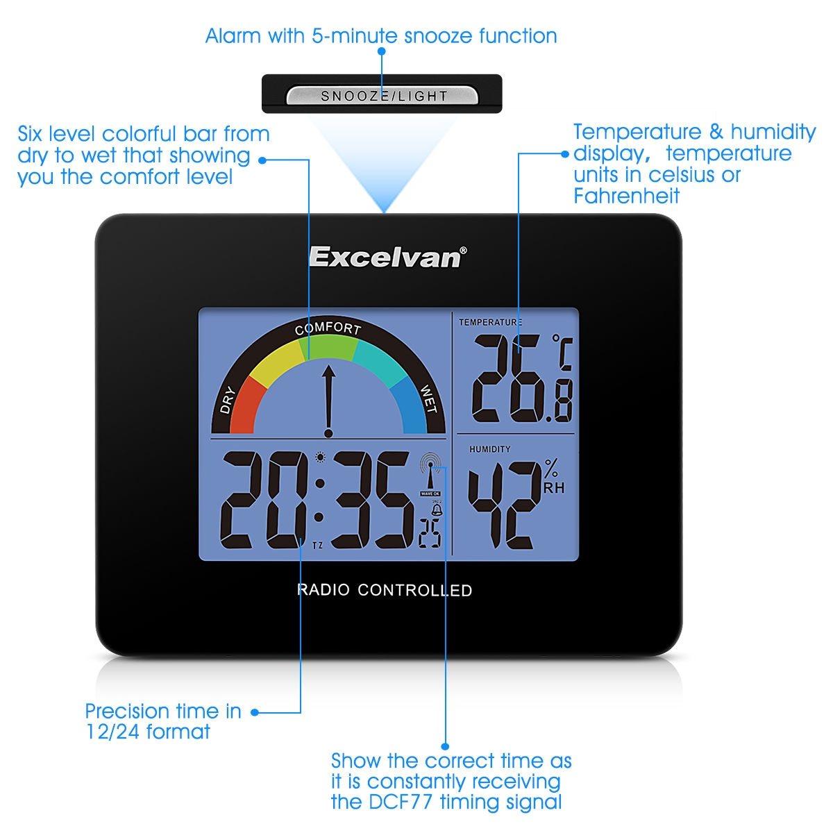 buy excelvan aok 2805a digital radio controlled alarm clock