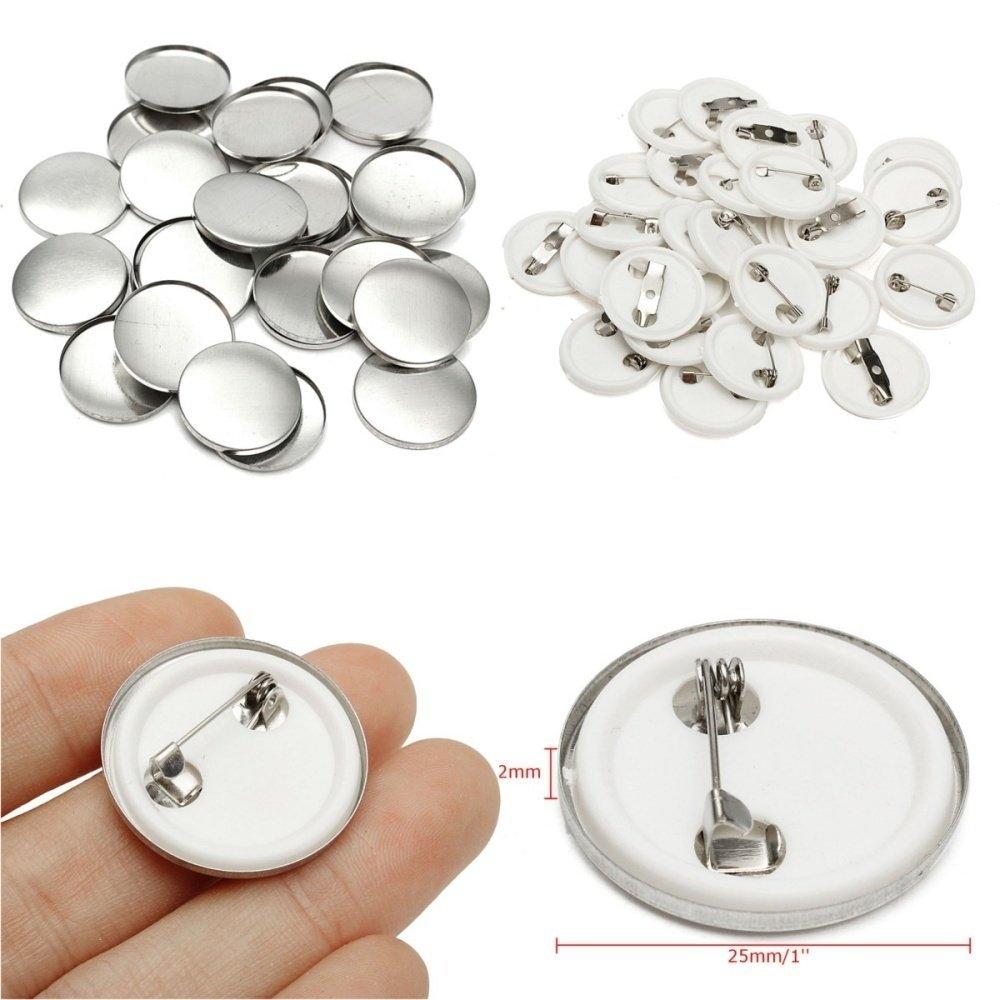 Fashion 100pcs 25mm/1'' DIY Pin Badge Buttons Parts Supplies
