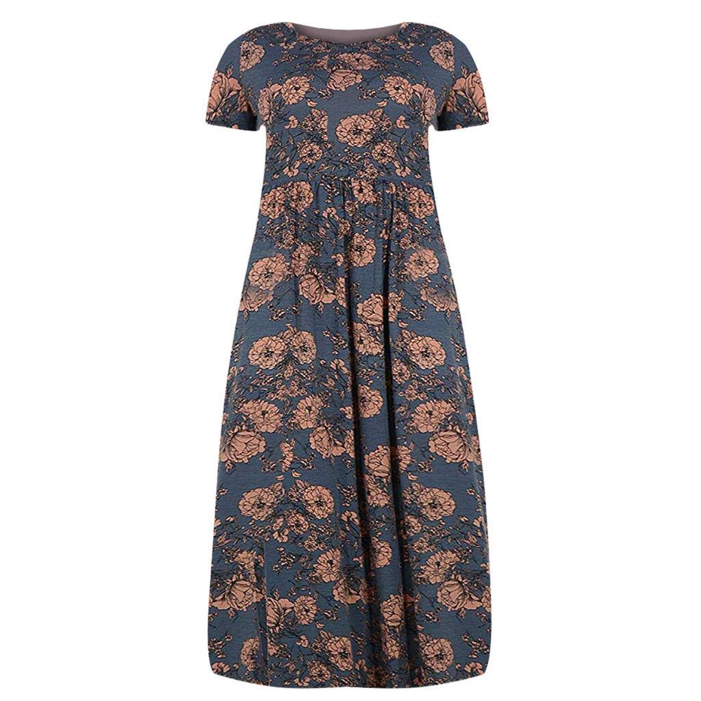 d01f70404bfa Fashion Women Short Sleeve Loose Plain Print Plus Size Long Maxi Dress with  Pockets