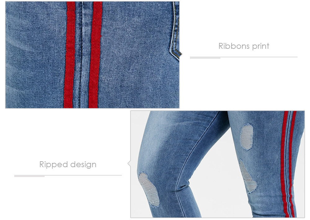 Women Destroyed Frayed Ripped Slim Ribbons Denim Pants Jeans Trousers