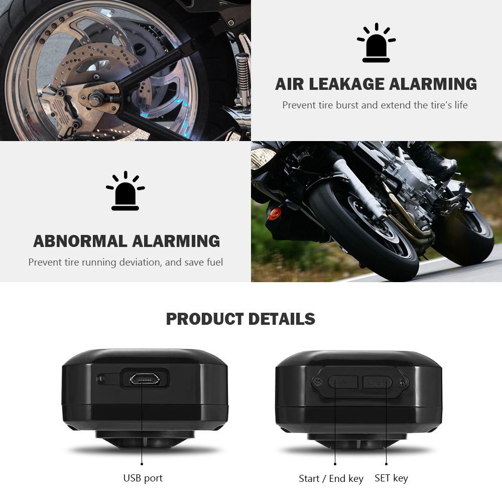 Pershn M3 Motorcycle Tire Pressure Monitoring System with 2 External Sensors
