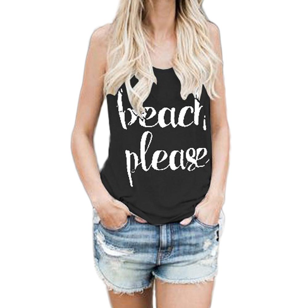 d3b7ee229c68 Fashion Hiaojbk Store Women Crop Tops Vest Print Letter Sleeveless Tank  Tops Blouse T-Shirt -BLACK