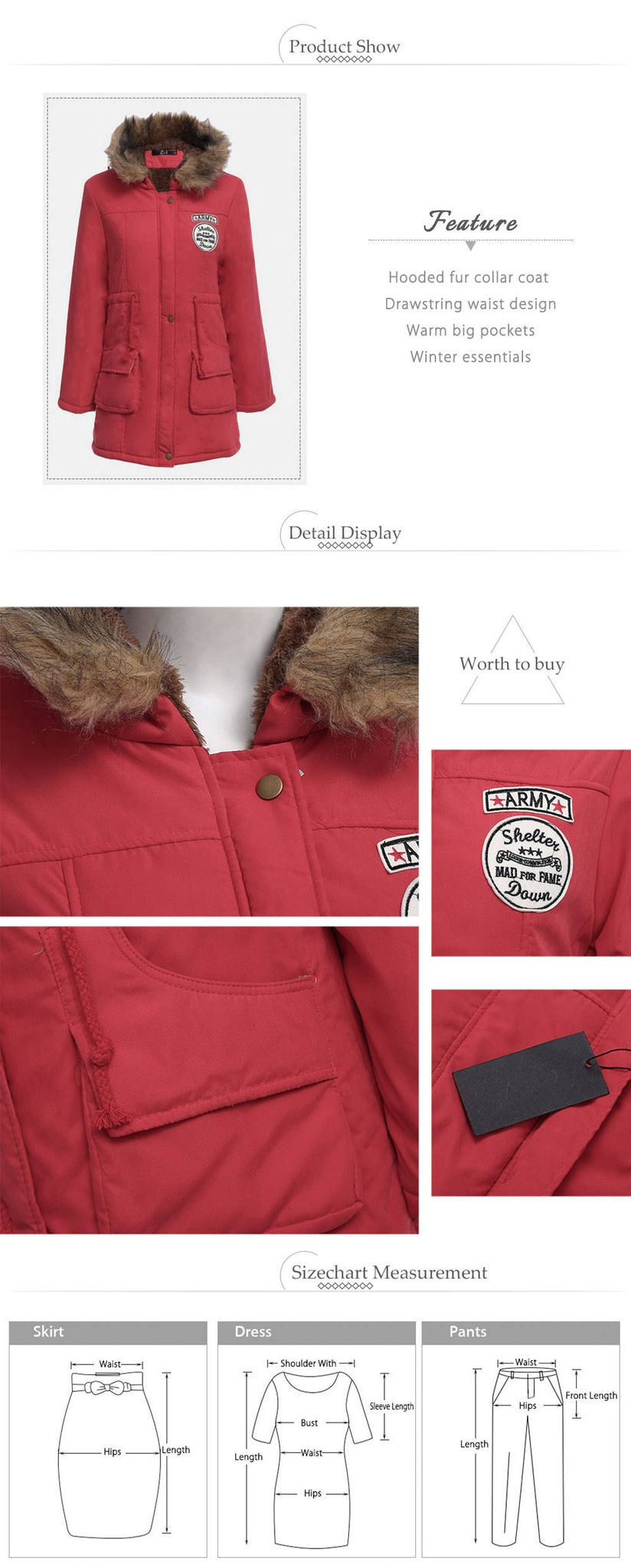 Stylish Hooded Long Sleeve Zipper Drawstring Type Woolen Women Coat