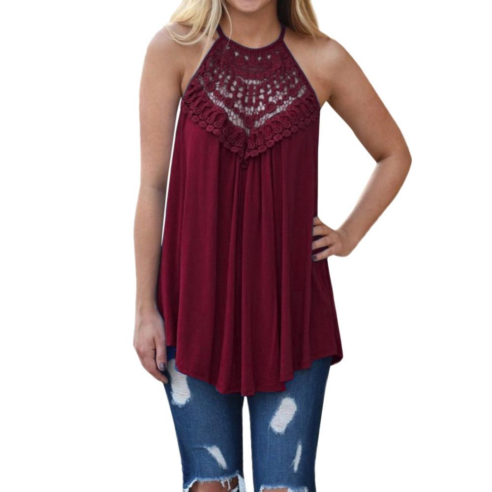 96de7b4328141c Fashion Hiaojbk Store Women Summer Lace Vest Top Sleeveless Blouse Casual  Tank Loose Tops T-Shirt-Navy