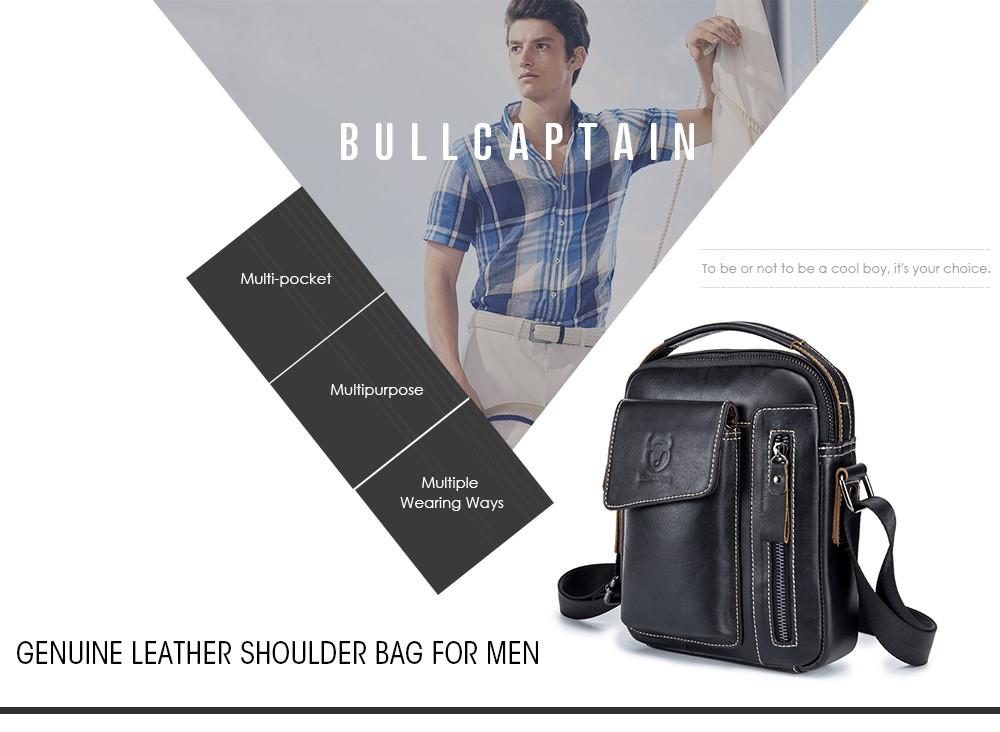 BULLCAPTAIN Leather Shoulder Bag for Men