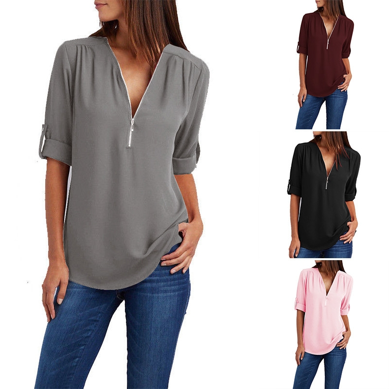 4d04a0379674 Fashion Women Low Cut Solid Loose Blouse Shirt Ladies Wear To Work Tops