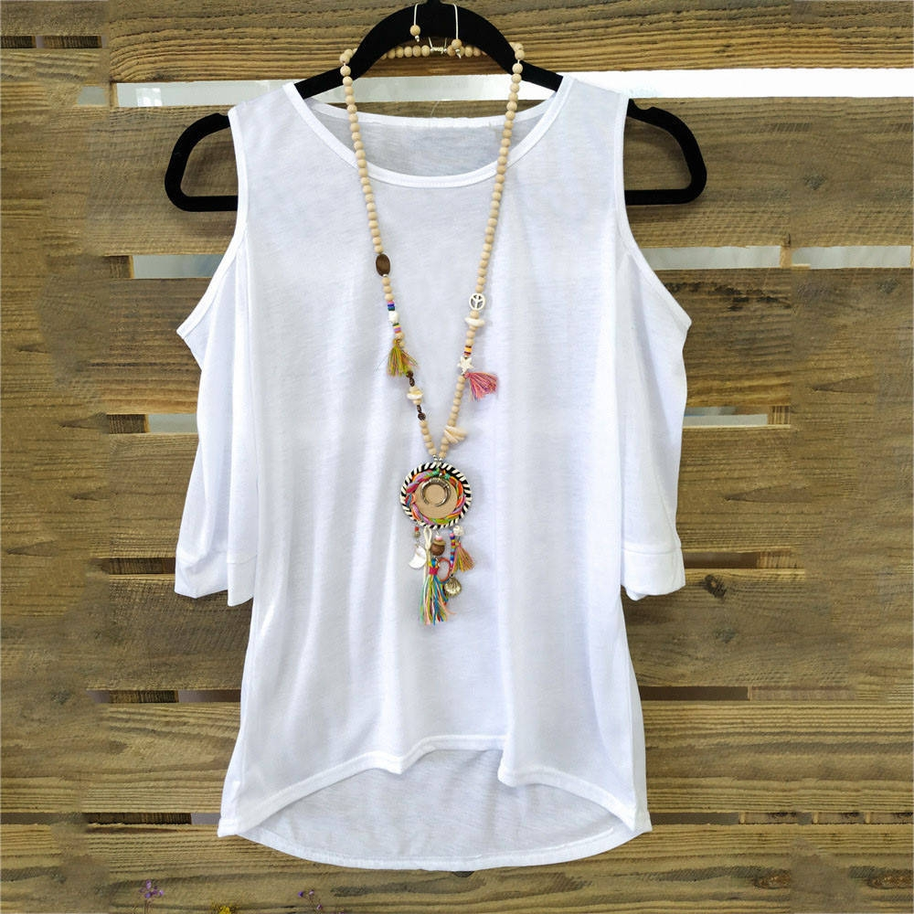 aeb27a811b Fashion Women Solid O Neck Short Sleeve Plus Size Loose Casual Top Tee T- Shirt Blouses -White