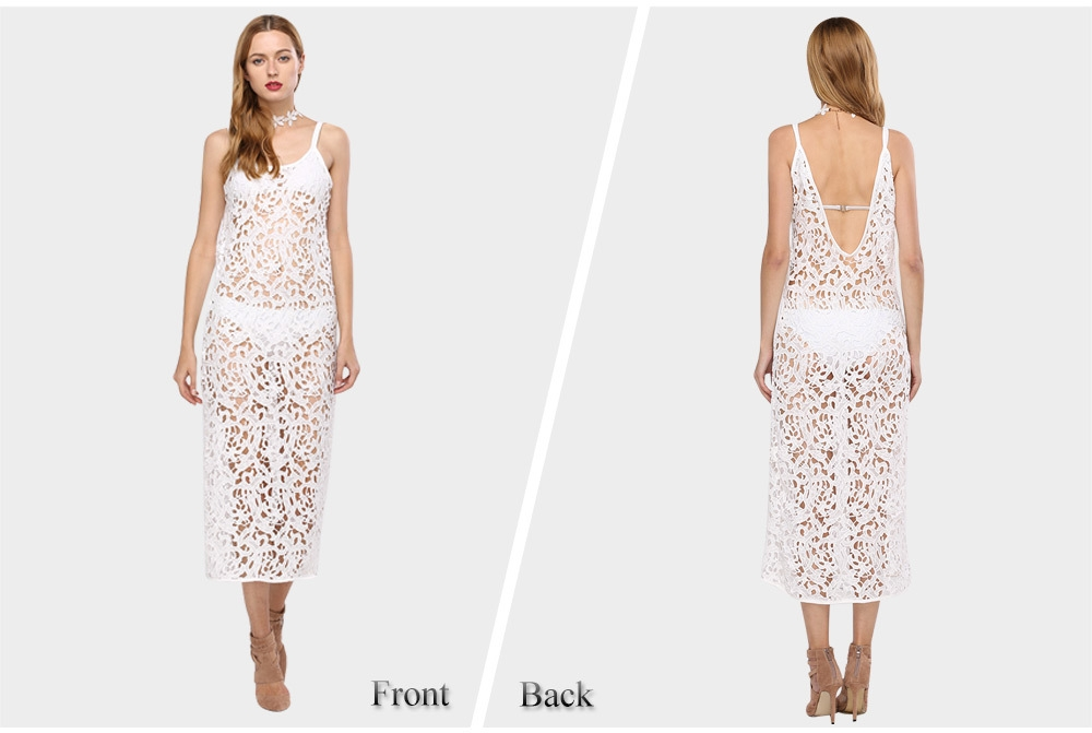 Sexy Spaghetti Strap Hollow Out Crochet Lace Dress for Women