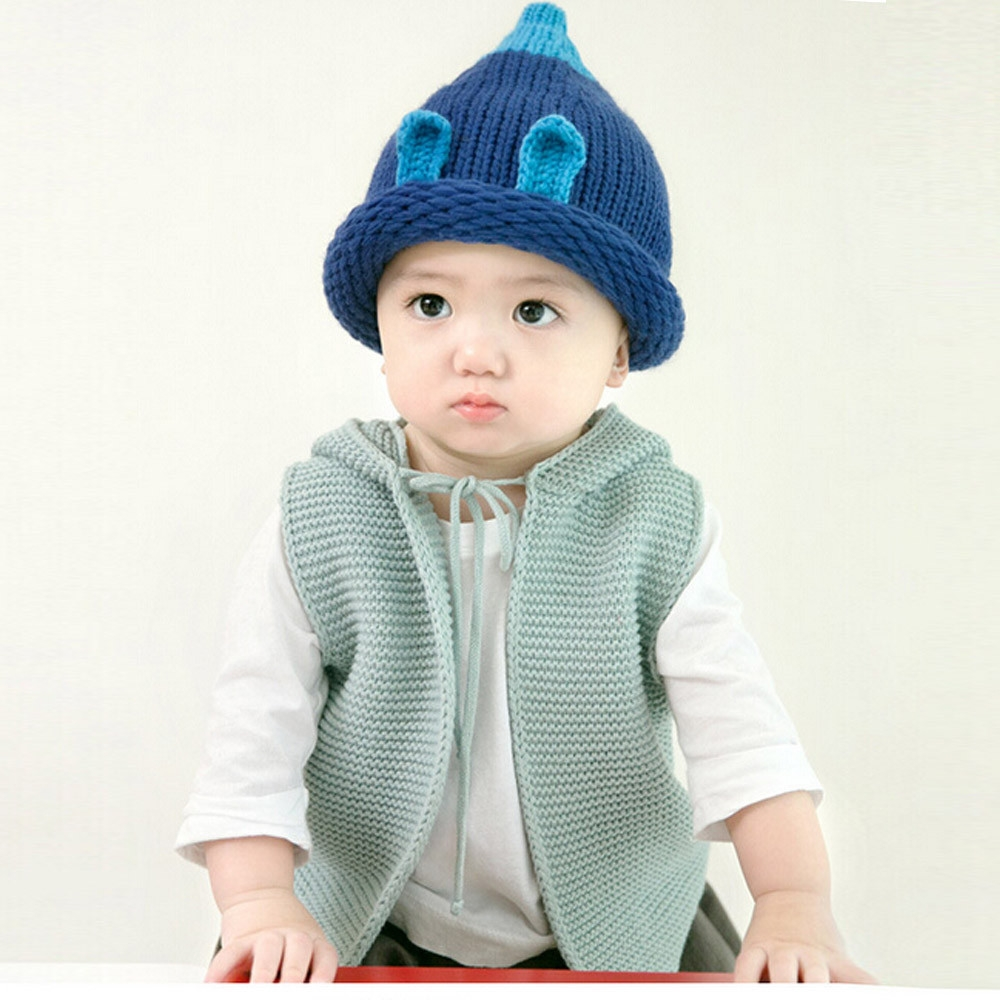 bef2636b Fashion Braveayong Baby Toddler Kids Boy Girl Knitted Crochet Ear Beanie  Winter Warm Hat Cap BU - Blue. By Fashion