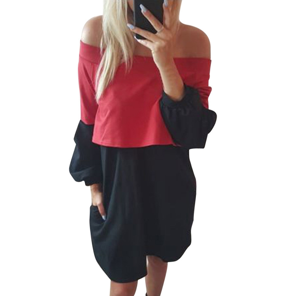12c8b32e3da Fashion Hiaojbk Store Women Autumn Winter Long Sleeve Sexy Off Shoulder  Patchwork Dress -Black