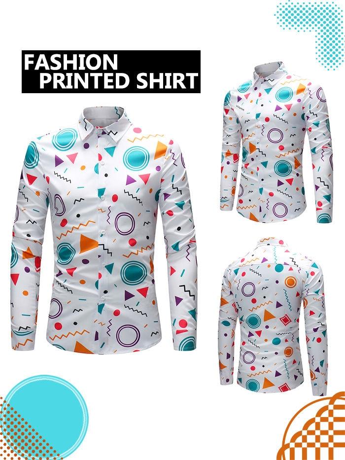 Colorful Geometric Print Long Sleeve Shirt