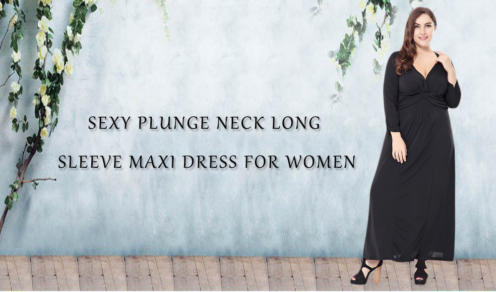 Sexy Plunge Neck Long Sleeve Solid Color Plus Size Women Maxi Dress ... 45c90e815