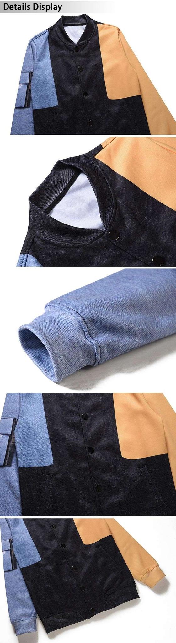 Pocket 3D Print Color Block Jacket