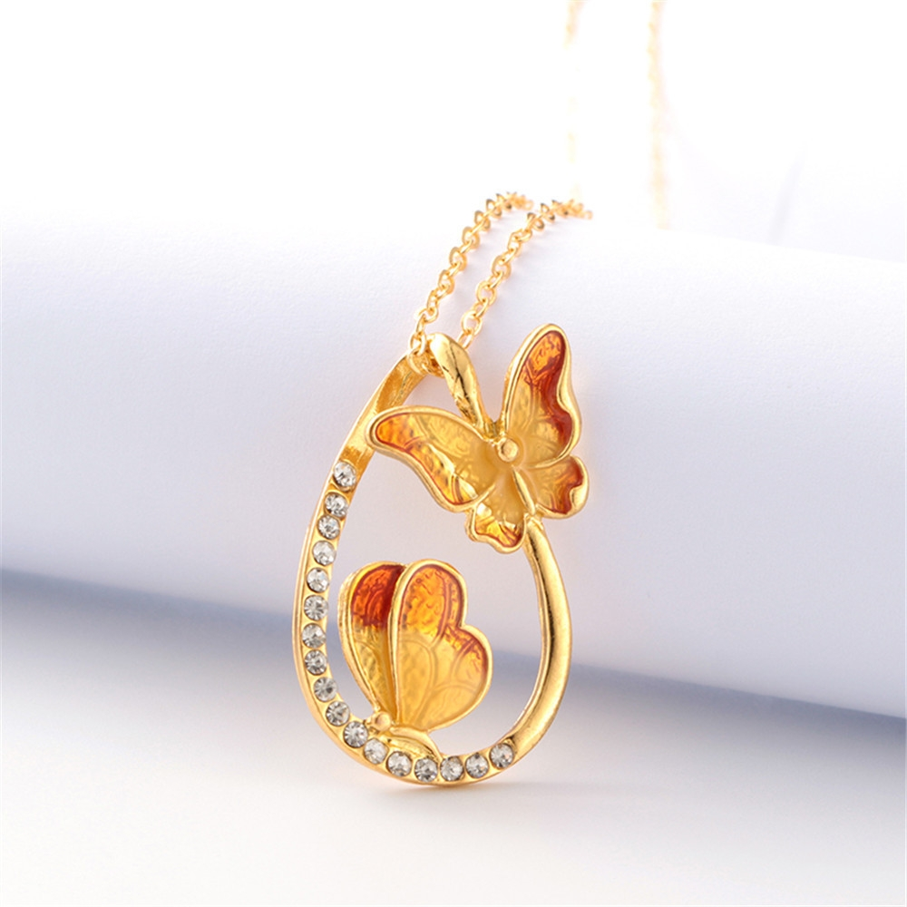 Fashion africashop Colourful Butterfly Diamond Pendant Necklace