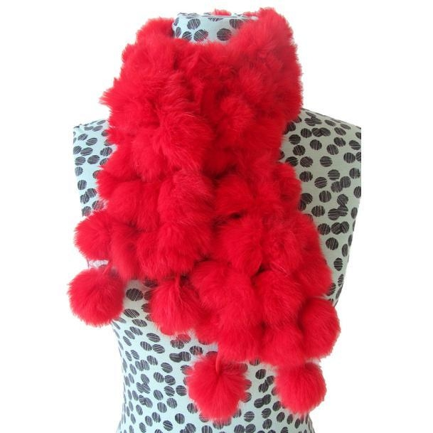 0c4bf4fe4b2 Hiaojbk Store Women Winter Rabbit Fur Scarf Lady Casual Fur Scarves Fur  Ball Velvet Scarf- Red
