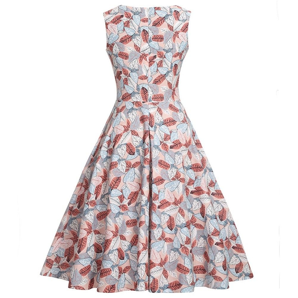 fb9821a29c6 Zaful Hepburn Vintage Series Women Dress Spring And Summer Round Neck Leaf  Printing Design Sleeveless Corset