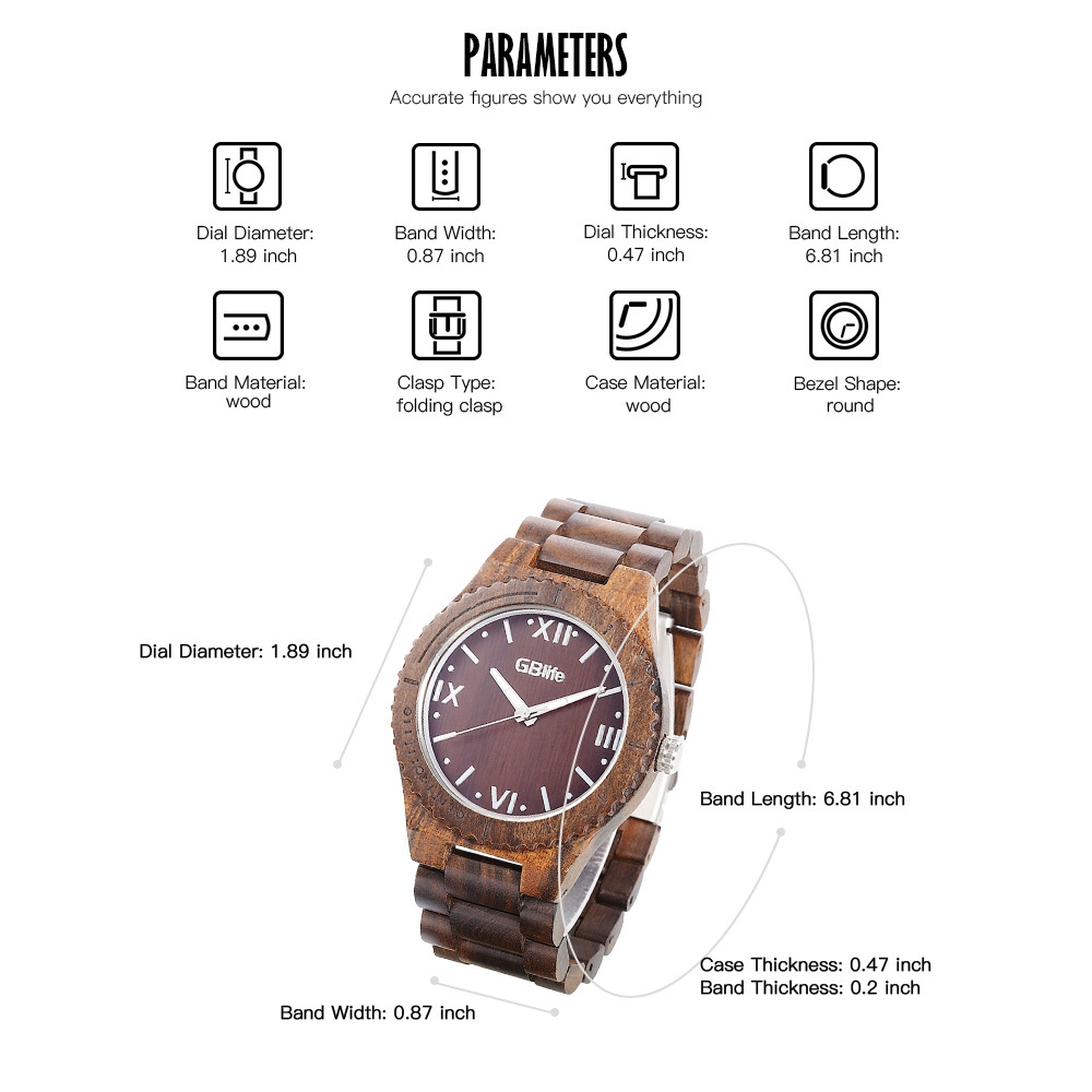 GBlife GM65 - 01 Wood Men Quartz Watch Ebony Wooden Luminous Male Wristwatch