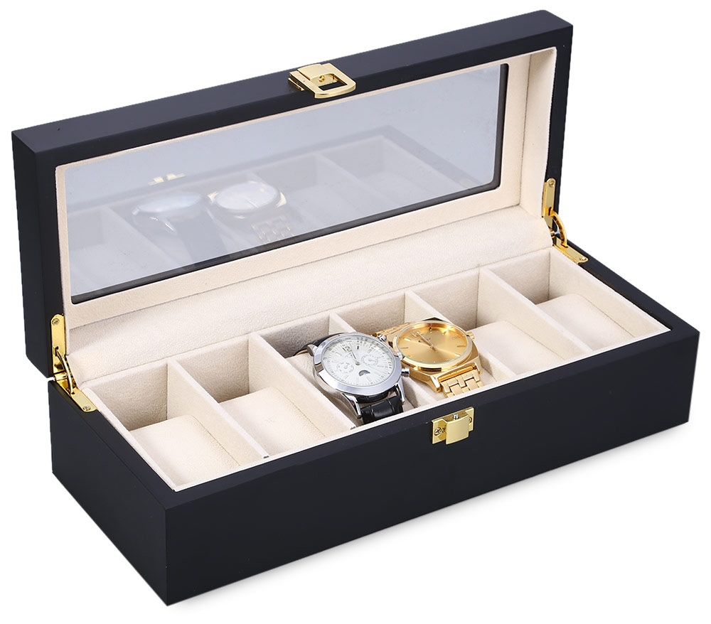 6 Slots Wood Watch Display Case Watches Box