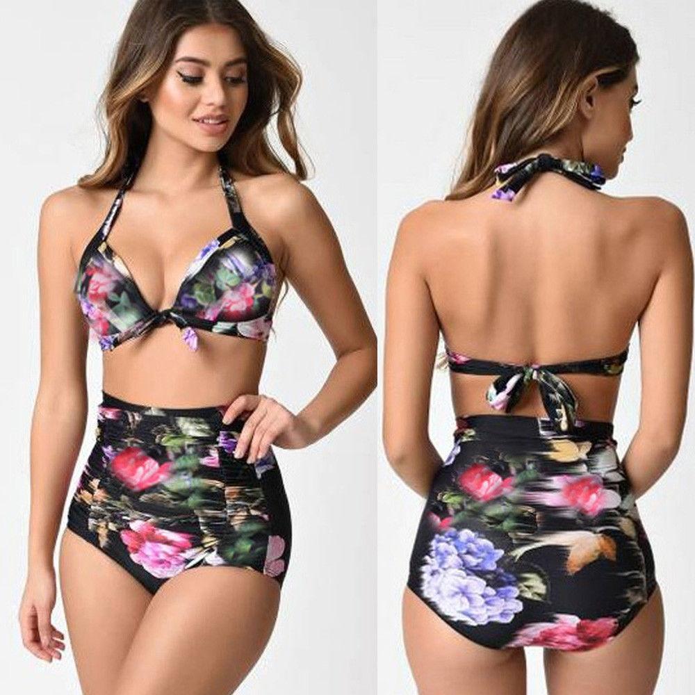 a04378dd052 Fashion Wenrenmok Store Women 2Pcs Swimsuit Beachwear Push Up Padded  Swimwear Plus Size Bikini Set-Black