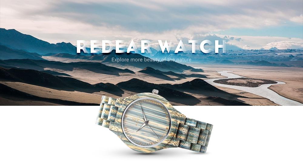 REDEAR SJ1448 Men Quartz Wooden Watch Wood Grain Dial Luminous Wristwatch