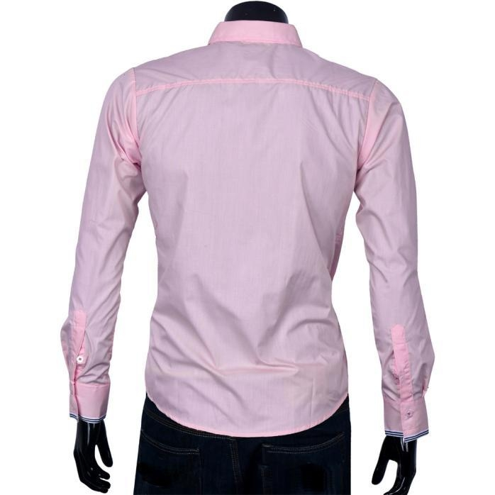 3365ad4d4cc3 Fashion Africanmall store Fashion Mens Luxury Long Sleeve Tops commerce  stripe shirts PK L-Pink