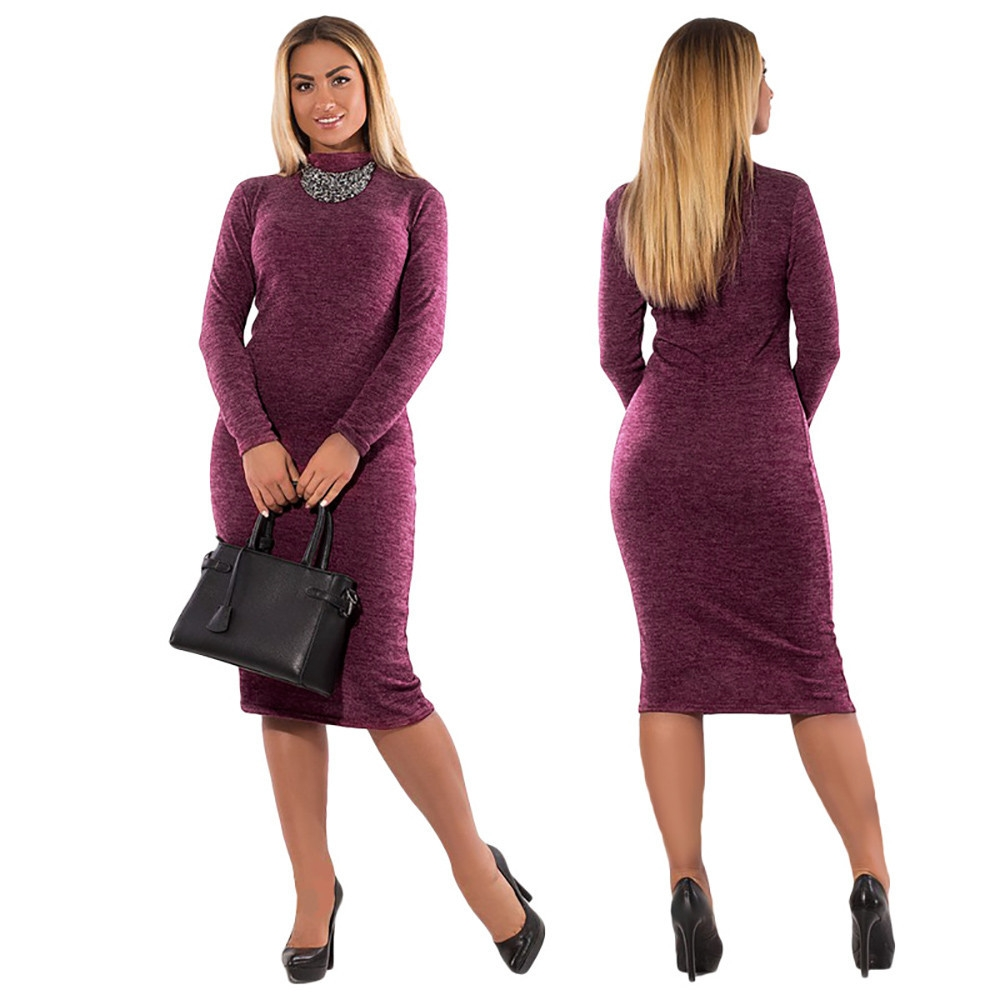 4af0e55bcd Fashion Hiaojbk Store Fashion Women Solid Plus Size Dress Long Sleeve  Casual Loose Party Dress-Red