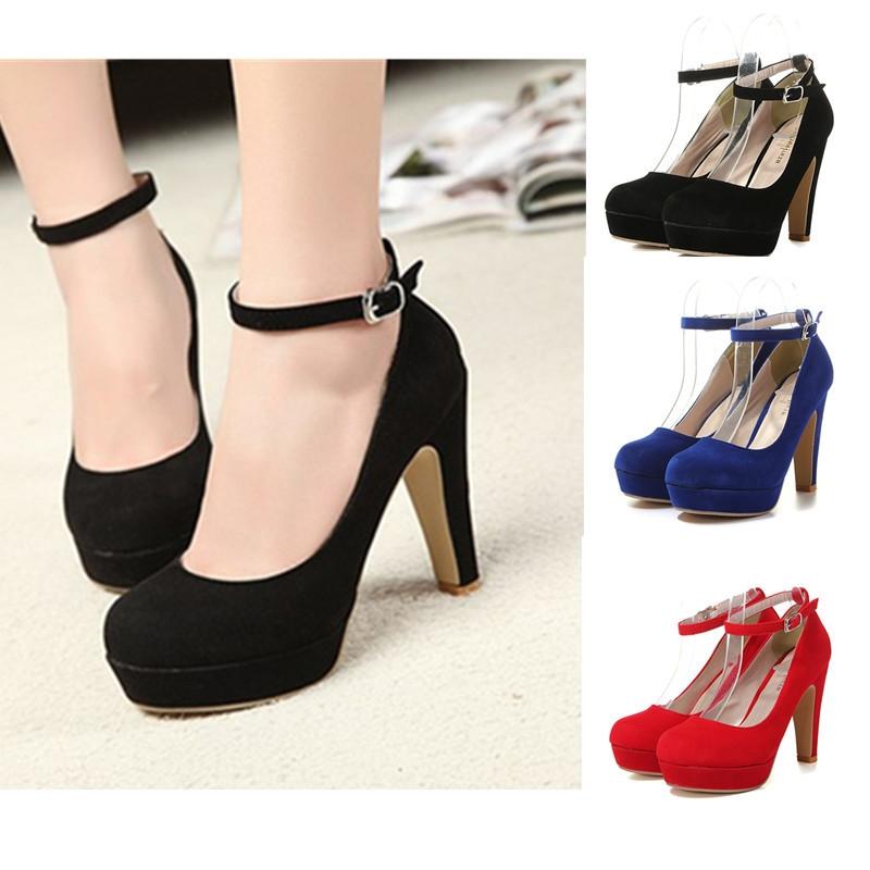 251c1677f52a Fashion UK Women's Ankle Strap High Heels Platform Stilettos Suede Pumps  Round Toe Shoes
