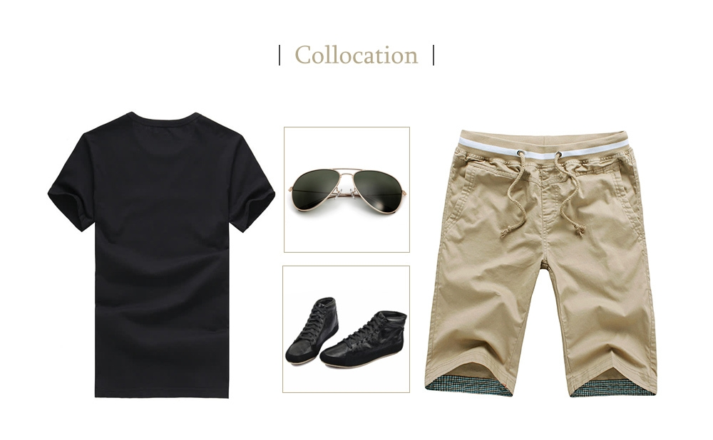 Breathable Solid Color Elastic Waist Drawstring Straight Shorts for Men