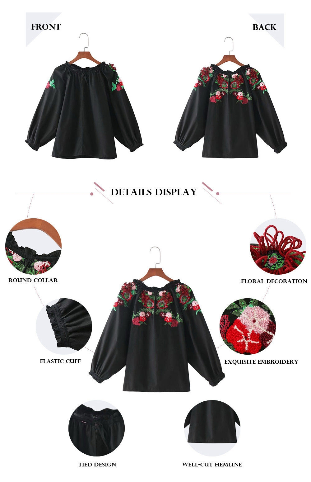 Trendy Round Collar 3/4 Sleeve Embroidery Ruffled Tied Women Blouse