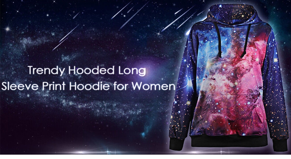 Trendy Hooded Long Sleeve Starry Sky Print Women Hoodie