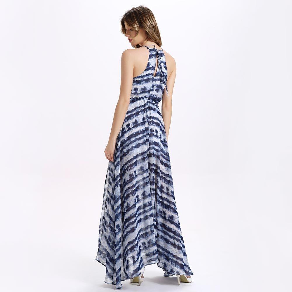 5cd27090bf Fashion Chiffon Slit Stripe Maxi Swing Dress - Purplish Blue   Best ...