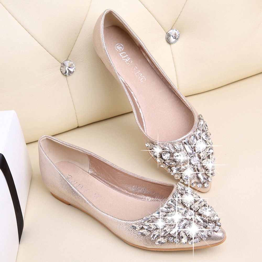 510cb7029af3dd Fashion Xingbiaocao Women s Pointed Toe Ladise Shoes Casual Rhinestone Low  Heel Flat Shoes -Gold