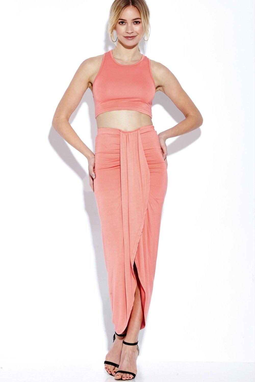 57cd46d0b1d1d8 Fashion YOINS Women New High Fashion Clothing Casual Watermelon-red  Sleeveless Crop Top & Wrap Front Maxi Skrit Co-ord