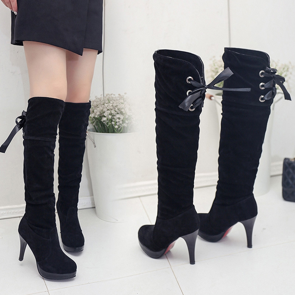 9f7156fb985 Fashion Fohting Women s Fashion Boots Comfortable Flock High-Heel Thigh  High Boots -Black