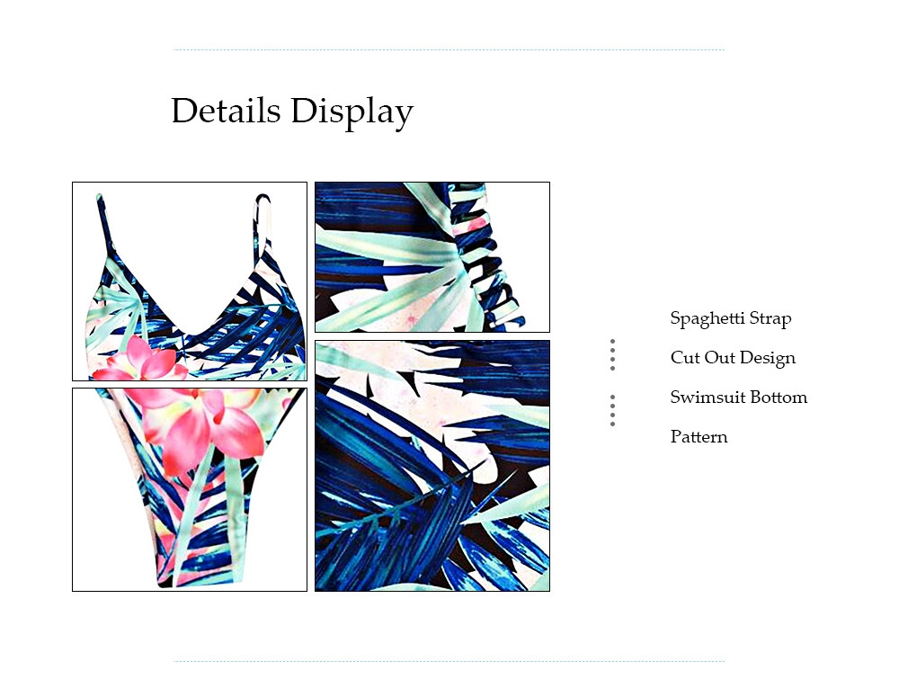 Sexy Spaghetti Strap Floral Print Cut Out Backless Swimsuit for Women