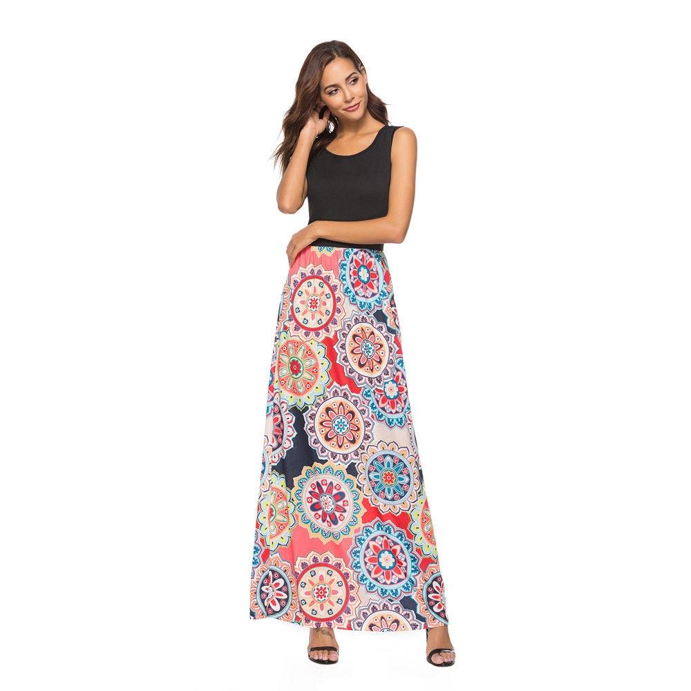 bb2b96a96d87f9 Fashion Hiaojbk Store Women Print Tank Maxi Dress Pocket Sleeveless Casual  Summer Long Maxi Dress-Coffee