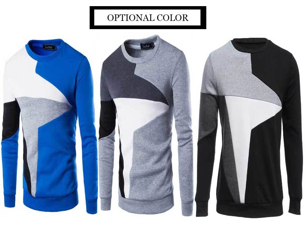 Casual Color Block Long Sleeve Pullover Sweater for Men