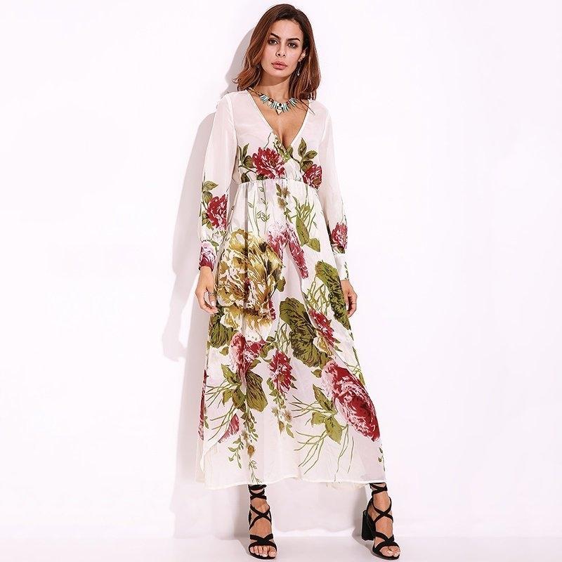 bce1d107782 Fashion Women Chiffon Casual Maxi Long Dress Plus Size S-5XL Floral Party  Beach Sexy Long Sleeve Boho Shift Dress Sundress Vestidos
