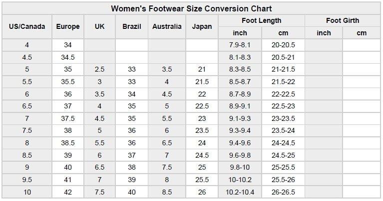 High heel size chart
