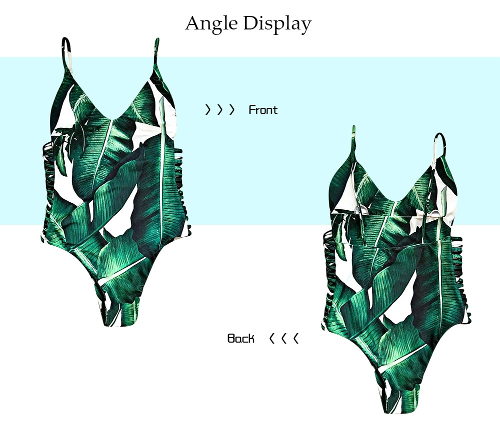 Sexy Spaghetti Strap Leaf Print Cut Out Backless Swimsuit for Women